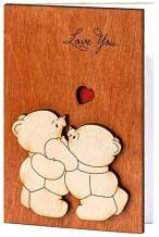 Real Wood Love You Teddy Bears Funny Happy Birthday Mother's Day Greeting Card 5 Dating Wedding Anniversary Wooden Gift for Him Her Boy Girl Mom Dad Kids Boyfriend Girlfriend Husband Wife Son Friend e