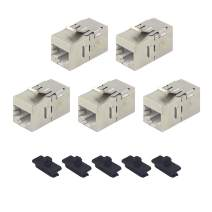VCE 5 Pack RJ45 CAT6A Keystone Coupler UL Listed Straight Female to Female Shielded Keystone Jack Insert in-Line Connector with Fixed Buckle