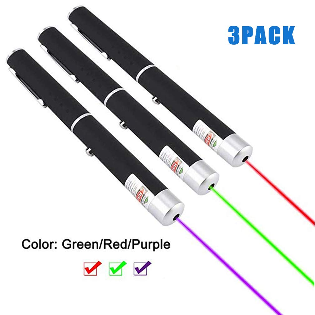 JUSHOOR 3Pack Green Purple Red Classroom Lecture Presentation Instructions Pen/Cat and Dog Training Toys