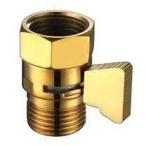 Water Flow Control Valve, Angle Simple Brass Shut Off Valve for Handheld Shower, Water Volume Adjust Valve, Shower Head Flow Control Valve, Water Pressure Regulator, Gold