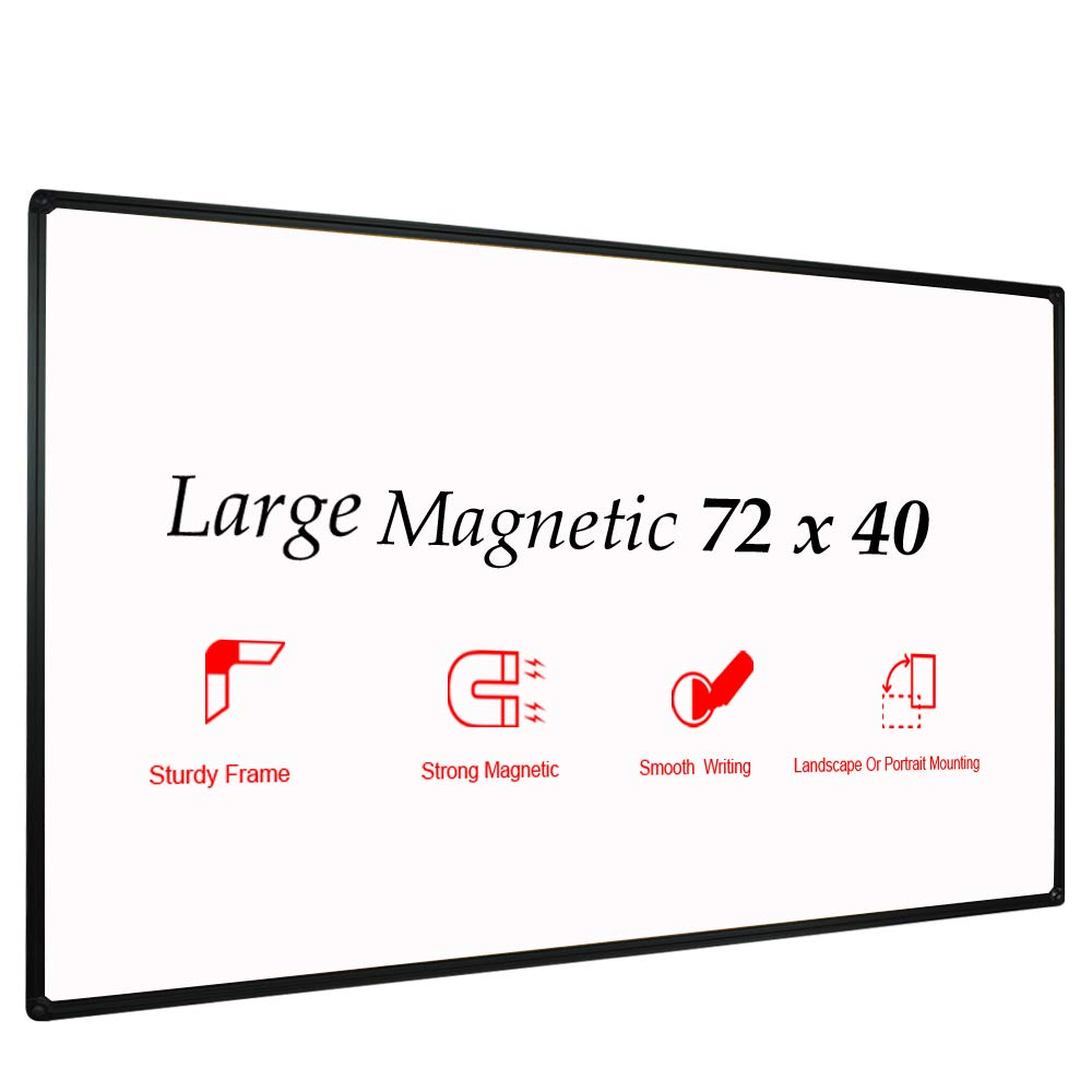 JILoffice Large Magnetic White Board, Dry Erase Board 72 x 40 Inch, Black Aluminum Frame with Detachable Marker Tray, Wall Mounted Board for Office Home and School