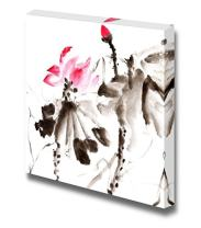 "Canvas Prints Wall Art - Lotus, Chinese Traditional Ink Painting Artwork with Color. - 16"" x 16"""
