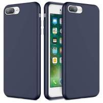 Caka iPhone 7 Plus Case, iPhone 8 Plus Liquid Silicone Case Gel Rubber Soft Slim Girly Luxury Microfiber Cloth Lining Cushion Cute Protective Case for iPhone 7 Plus iPhone 8 Plus (Midnight Blue)