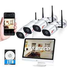 1080P Wireless Security Camera System Outdoor with 15.6 Inch LCD Monitor,ANRAN 4CH WiFi NVR Kits 4Pcs Outdoor/Indoor IP Cameras with Night Vision,Remote View,1TB Hard Drive, Motion Detection