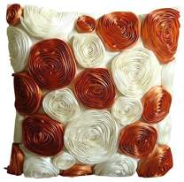The HomeCentric Luxury Rust Pillow Cases, Modern Floral Throw Pillows Cover, 12x12 inch (30x30 cm) Pillow Cover, Art Silk Square Throw Pillow Covers, Ribbon Flowers Pillows Cover - Vintage Lovers