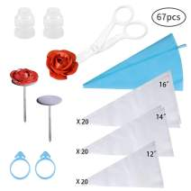 """Pastry Bags Sets with 60 PCS 3 Sizes (12""""+14""""+16"""") Transparent Icing Pastry Bags,2 Frosting Bags Ties,2 Flower Nails,1 Blue Bags,1 Piping Bags Couplers by PROKITCHEN"""