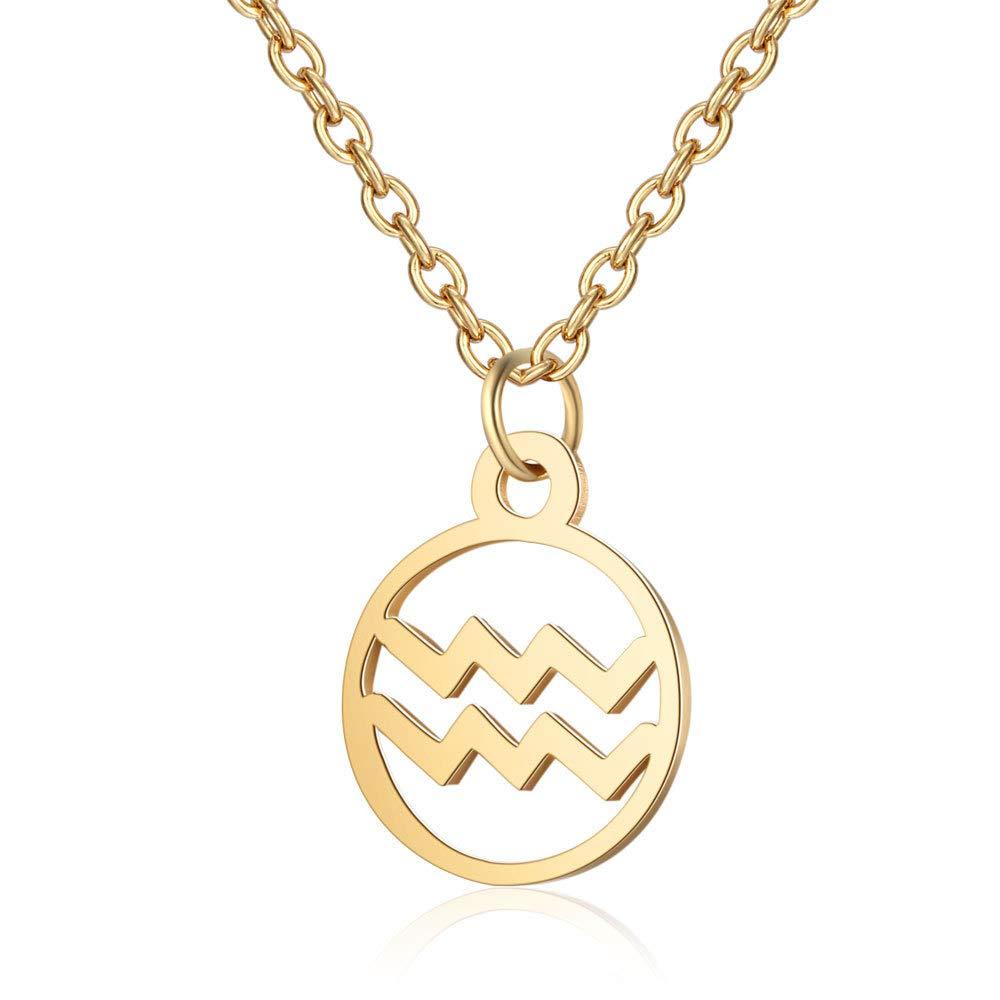 Wyenliz Constellation Necklace,Gold Plated Astrology Horoscope Zodiac Medallion Pendant Necklace Ladies Girls