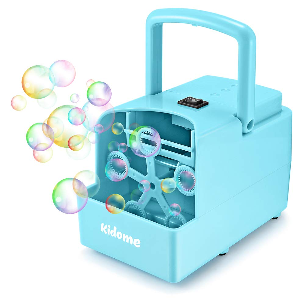 KidoMe Bubble Machine for Kids, Automatic Bubble Maker 2 Bubbles Blowing Speed Levels, Powered by Plug-in or Batteries Childrens Bubble Machine Blower for Parties Toddlers Outdoor and Indoor, Blue