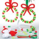 Baker Ross Bead Wreath Decoration Kits Perfect for Xmas Boys and Girls' Arts, Crafts and Decorating for Kids (Pack of 6)