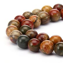 2 Strands Natural Picasso Jasper Gemstone 8mm (0.31 inch) Round Loose Stone Beads (~ 88-94pcs total) for Jewelry Craft Making GF10-8