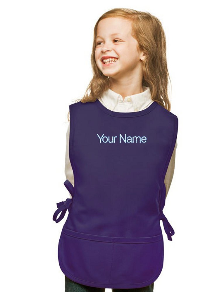 Personalized Purple Kids Art Smock, Cobbler Apron, Poly/Cotton Twill Fabric