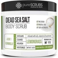 pureSCRUBS Premium Organic Body Scrub Set - Large 16oz LEMONGRASS BODY SCRUB - Dead Sea Salt Infused Organic Essential Oils & Nutrients INCLUDES Wooden Spoon, Loofah & Organic Exfoliating Bar