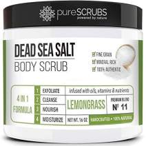 pureSCRUBS Premium Organic Body Scrub Set - Large 16oz LEMONGRASS BODY SCRUB - Dead Sea Salt Infused Organic Essential Oils & Nutrients INCLUDES Wooden Spoon, Loofah & Organic Exfoliating Bar
