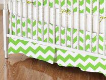 SheetWorld - Crib Skirt (28 x 52) - Lime Chevron Zigzag - Made In USA