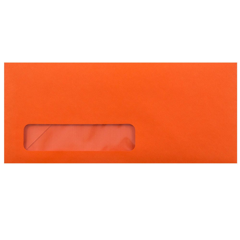 JAM PAPER #10 Business Colored Window Envelopes - 4 1/8 x 9 1/2 - Orange Recycled - 25/Pack