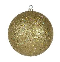 """Northlight 31755944 Shatterproof Gold Glamour Holographic Glitter Christmas Ball Ornament, 8"""""""