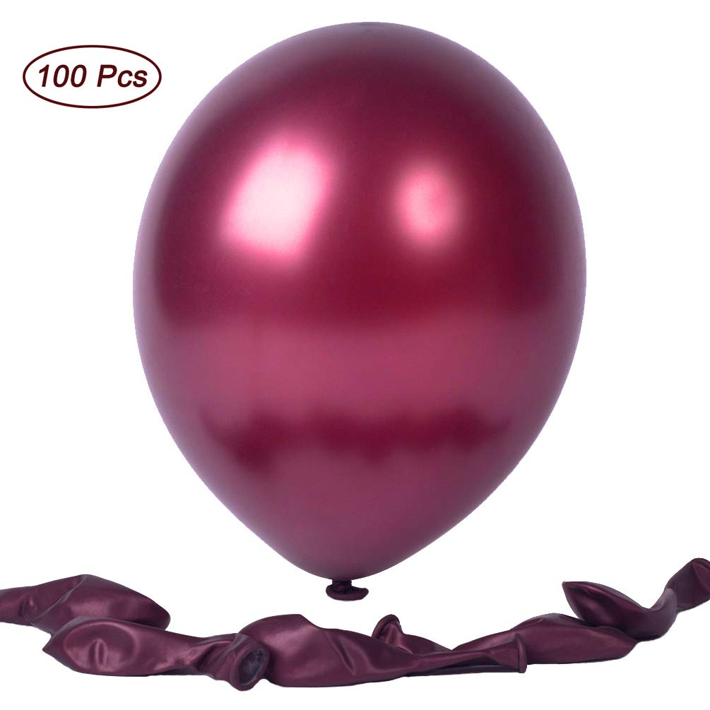 12 Inches Pearl Burgundy Premium Latex Balloons Party Balloons 100 Pcs Great for Kids Adult Birthdays Weddings Receptions Baby Showers Decorations (Burgundy)