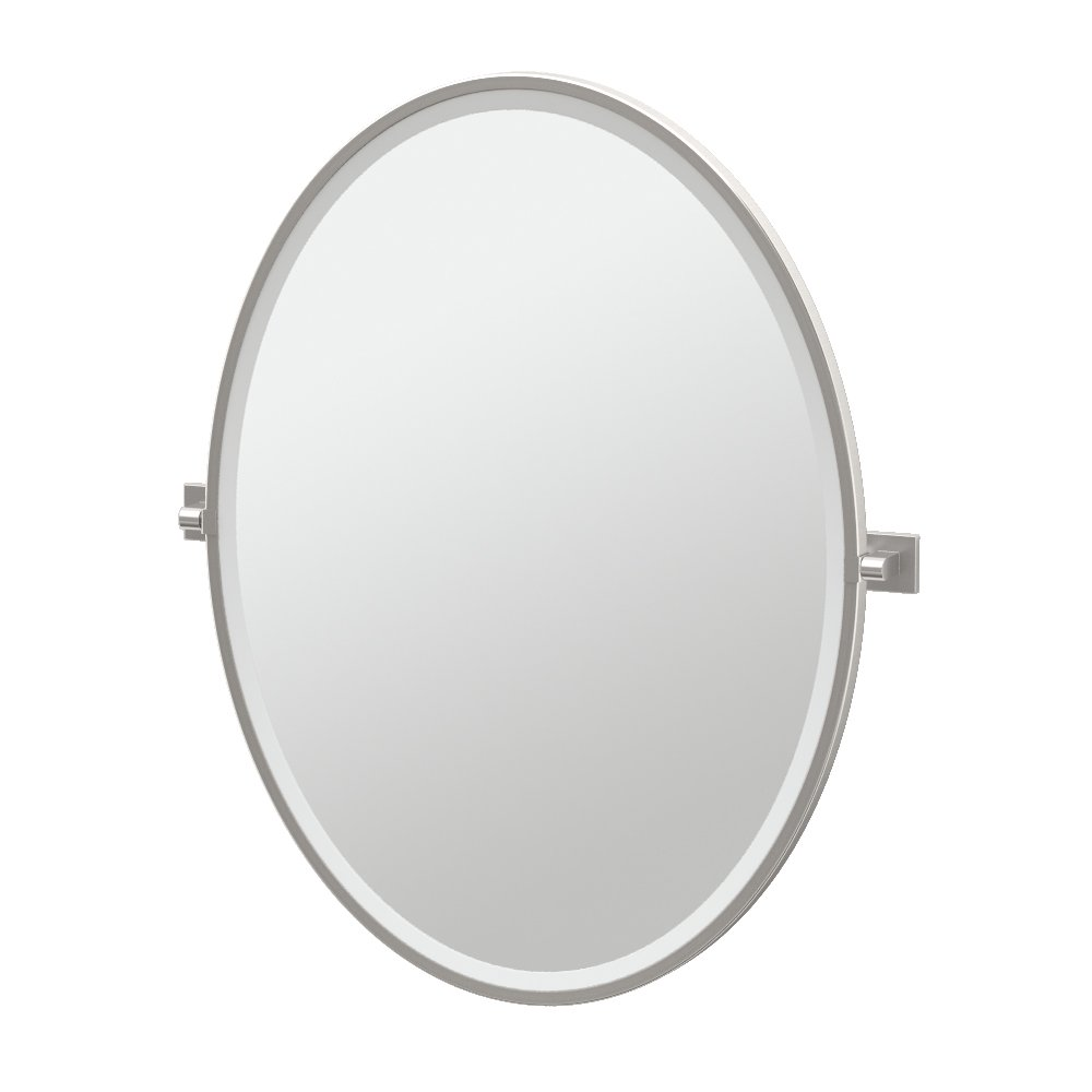 "Gatco 4079FLG Elevate Framed Oval Mirror, Satin Nickel, 33""H"