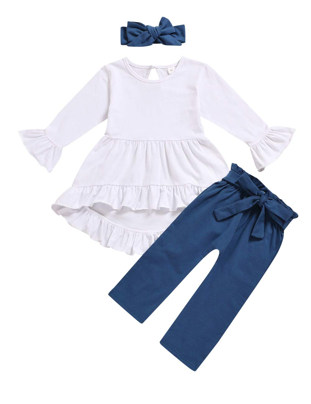 Toddler Girl Clothes Ruffle Flare Tunic Top Long Sleeve Shirt Pants and Headband Fall Winter Outfit Set