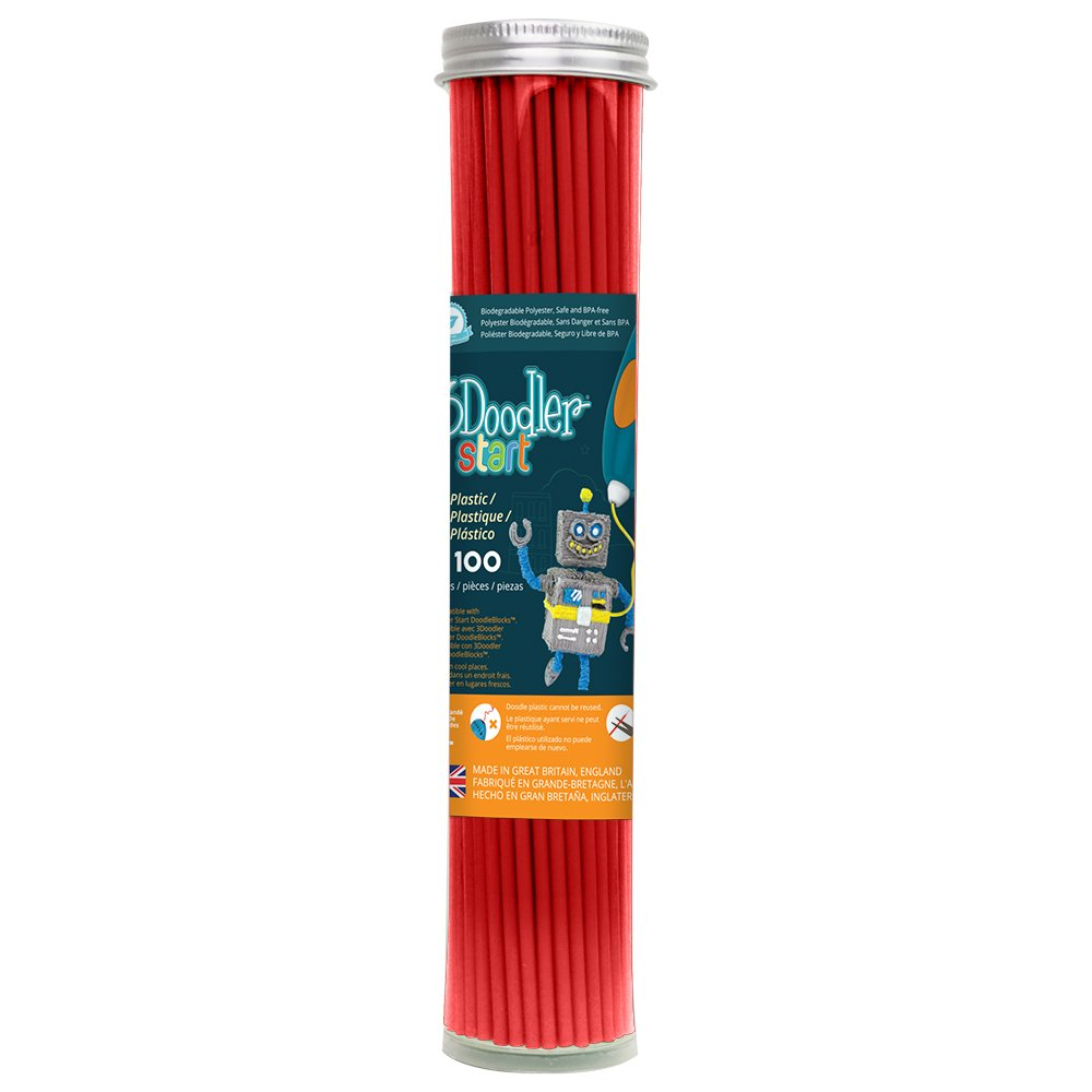 3Doodler Start 3D Printing Filament Refill Tube (X100 Strands, Over 830'. of Extruded Plastics!) - Cherry Red, Compatible with Start 3D Pen for Kids