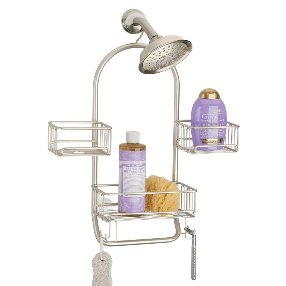mDesign Modern Metal Wire Bathroom Tub & Shower Caddy, Hanging Storage Organizer Center - 2 Wash Cloth/Razor Hooks, 3 Baskets - for Bathroom Shower Stalls, Bathtubs - Rust Resistant Steel - Satin