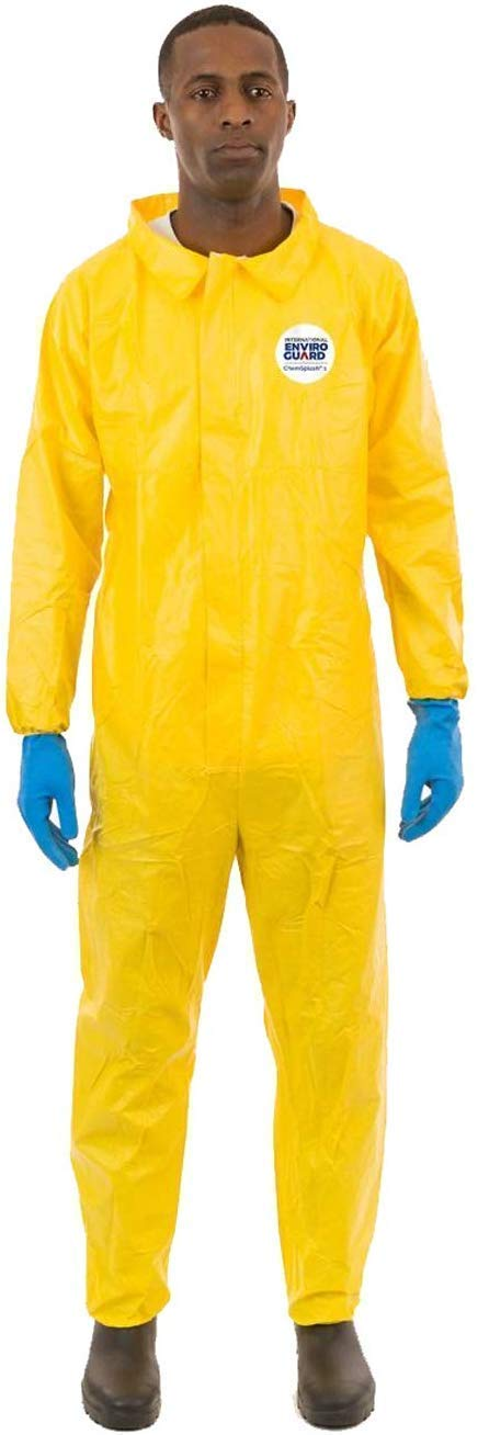 ChemSplash 1 Chemical Splash Protection Suit (Yellow) for Hazmat, Paint, and Light Duty Chemicals, Serged Seams (Case of 12) (2XL, Elastic Wrist & Ankle)