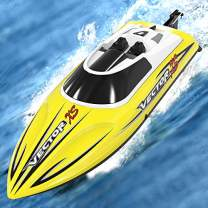 SONIKRC VOLANTEXRC Remote Control Boat RC Boat for Pool and Lakes, High Speed RC Boat with Self-righting Feature, Reverse Function for Kids or Adults (Yellow)