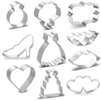 Wedding Cookie Cutters 10 Piece Set - Heart, Dress,Diamond Ring, Wedding Cake, Flower, Heart wing,Rectangle Plaque,Lips, High heels,double heart Cookie Cutters Molds for Bridal Shower Engagement