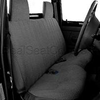 RealSeatCovers for Front Bench Thick A25 Molded Headrest Small Notched Cushion Seat Cover for Toyota Pickup 1984-1989 (Dark Gray, Charcoal)