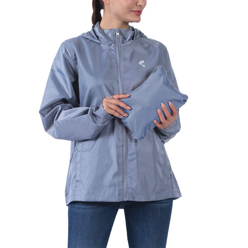 Common District Womens Waterproof Lightweight Rain Jacket Active Outdoor Hooded Raincoat