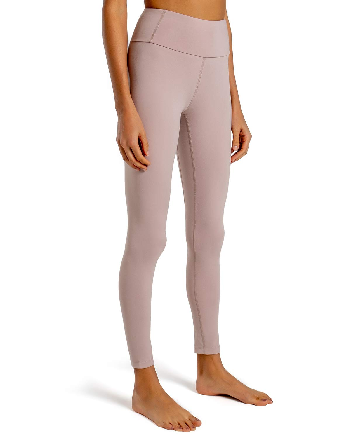 FIRST WAY Buttery Soft Women's Yoga Leggings Capris with Pockets, Peach Skin Finish 30% Spandex Workout Pants Gym Tights