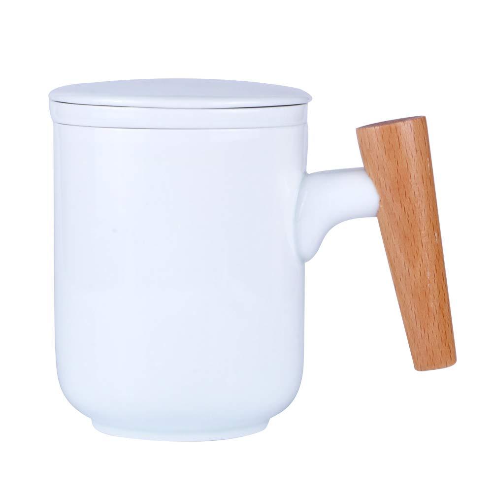 Sunddo Ceramic Tea Mug with Infuser and Lid Tea Brewing Cup with Porcelain Strainer Basket for Loose Leaf Steeping Gift for Tea Lover 10 OZ