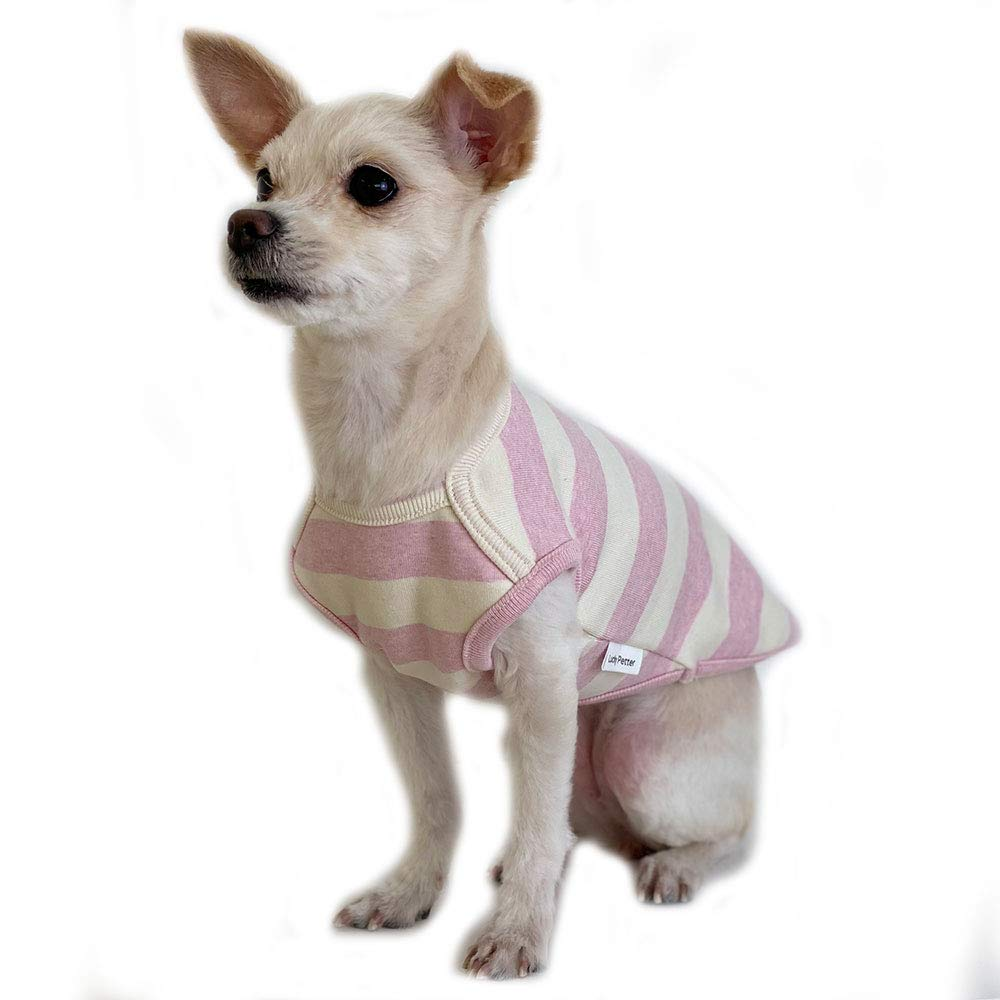 Lucky Petter Pet Clothes for Dog Cat Puppy Stripe Sleeveless Shirts Durable and Elastic Dog Shirt Apparel Outfits (Medium, Ivory/Pink)