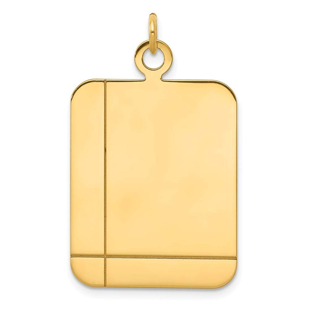 14k Yellow Gold Rectangular .035 Gauge Engravable Disc Pendant Charm Necklace Square Rectangle Fine Mothers Day Jewelry For Women Gifts For Her