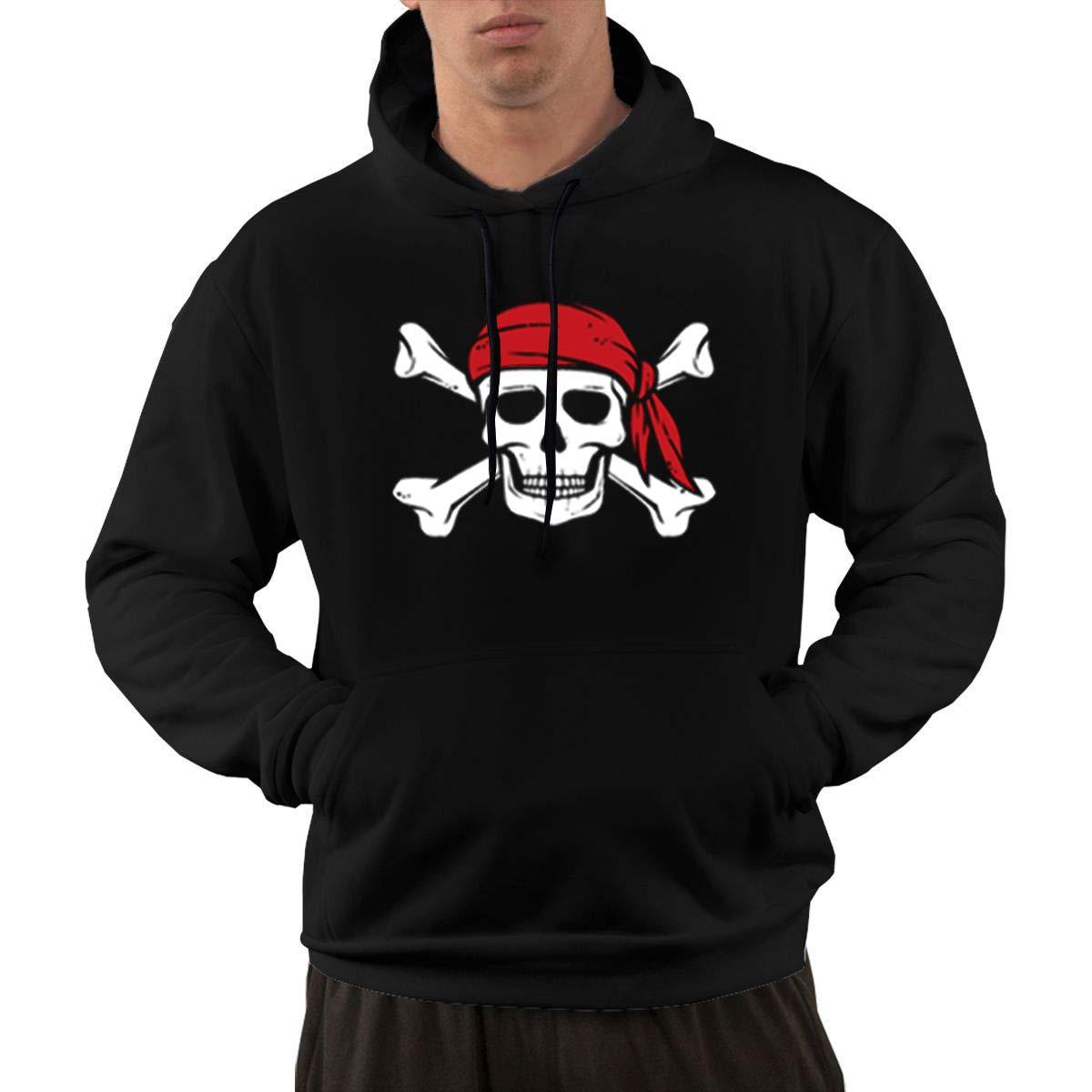 hodmadod Black Cool Pirate Skull Crossbones Hoodie - Crewneck College Sweatshirts Graphic Hooded Pullover Hoody with Pockets