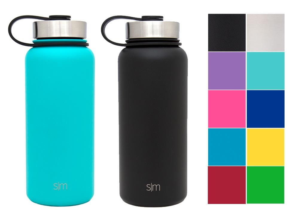 Simple Modern 32oz Summit Water Bottle 2 Pack - Two Vacuum Insulated 18/8 Stainless Steel Wide Mouth Hydro Travel Mugs - Powder Coated Double-Walled Flask - Caribbean Blue/Midnight Black