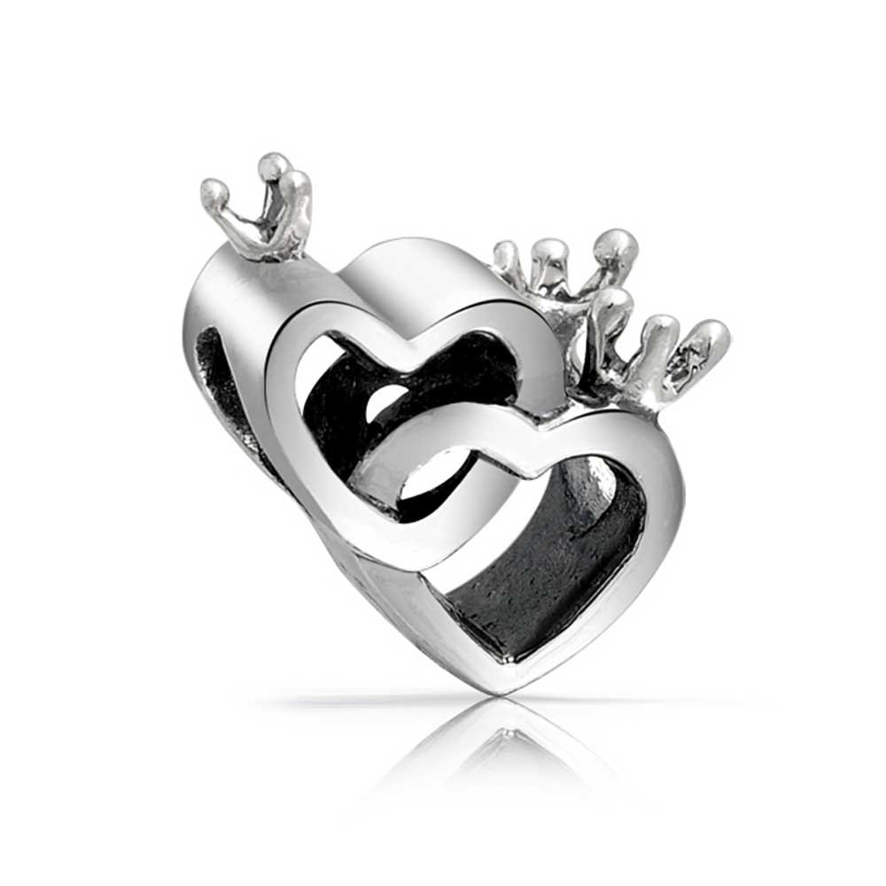 Crowned Bff Interlocking Hearts Charm Bead For Women For Girlfriend For Teen 925 Sterling Silver Fits European Bracelet