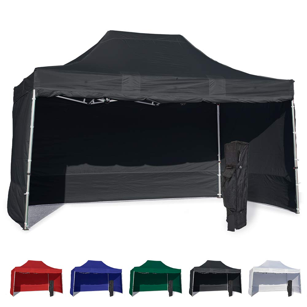 Vispronet 10x15 Instant Canopy Tent and 4 Side Walls – Commercial Grade Aluminum Frame with Water-Resistant Canopy Top and Sidewall – Bag and Stake Kit Included (Black)