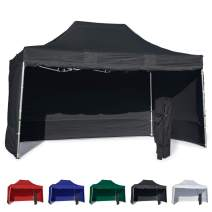 Vispronet 10x15 Instant Canopy Tent and 4 Side Walls – Commercial Grade Steel Frame with Water-Resistant Canopy Top and Sidewalls – Bonus Canopy Bag and Stake Kit Included (Black)