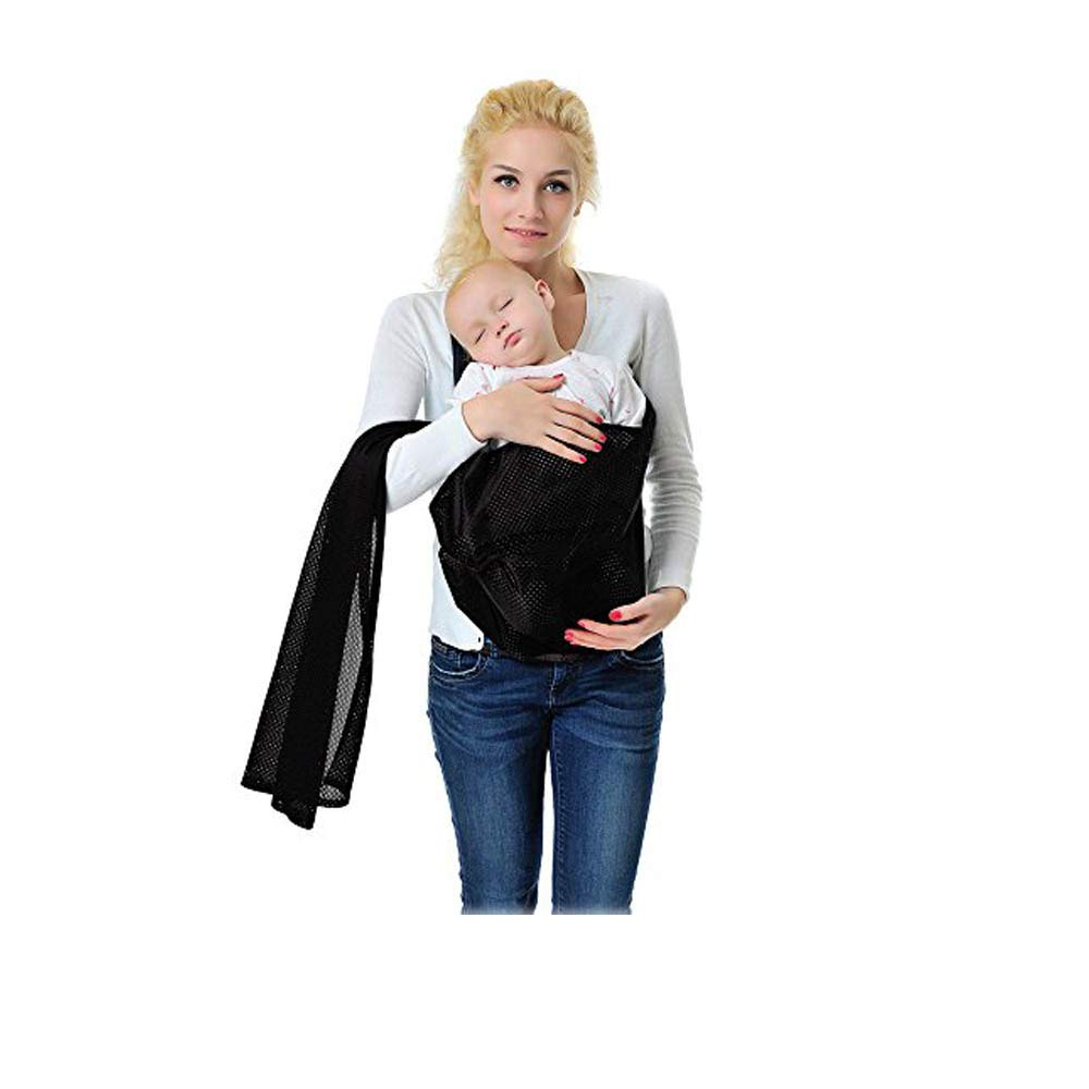 Baby Wrap Carrier - Water Sling Baby Wrap Carrier - Adjustable Shoulder Ring Mesh Breathable Chest Sling Infant Carrier for Summer Pool Beach-Black