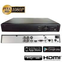 Surveillance Digital Video Recorder 4CH HD-TVI/CVI/AHD H264 Full-HD DVR w/o HDD HDMI/VGA/BNC Video Output Cell Phone APPs for Home & Office Work @1080P/720P TVI&CVI, 1080P AHD, Standard Analog& IP Cam
