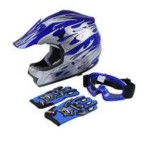 TCT-MT DOT Helmet W/Goggles Gloves Youth Kids Motocross Helmet Blue Silver Flame Dirt Bike ATV Off-Road Motorbike Child Helmet+Gloves+ Goggles (X-Large)