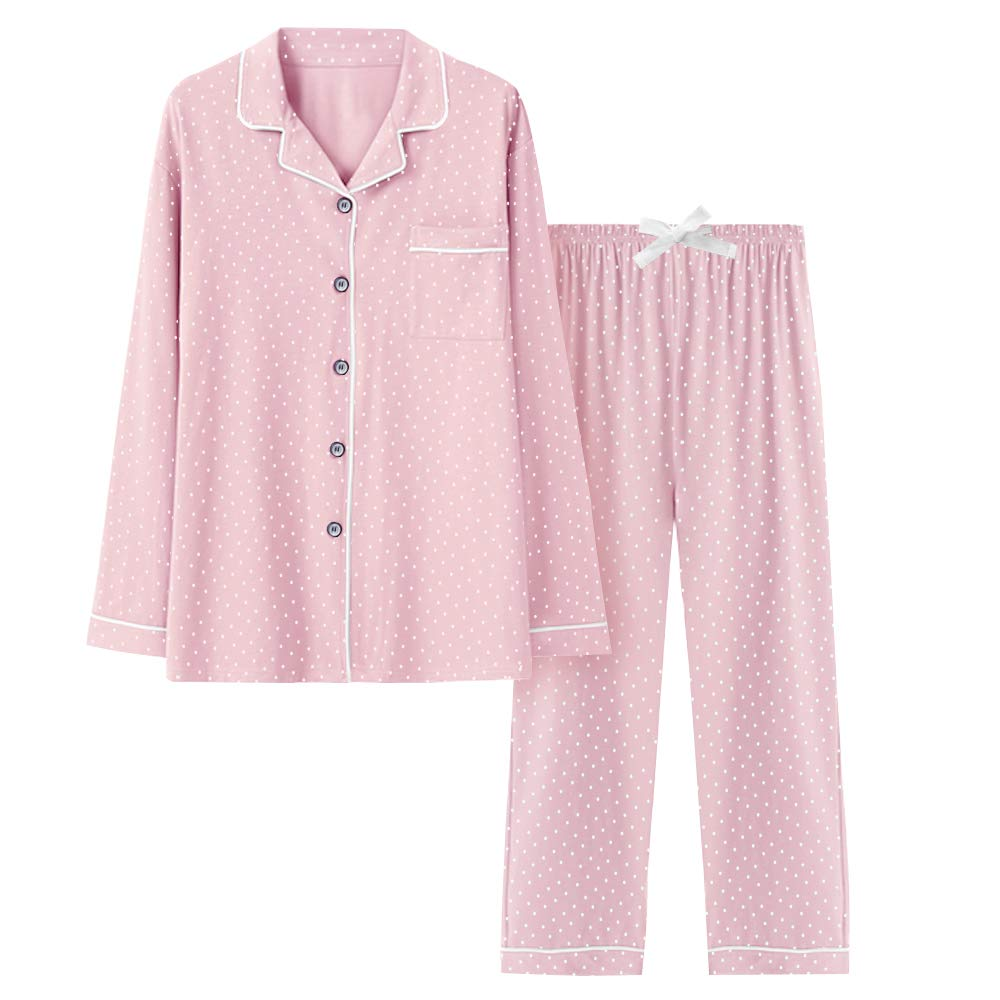 COLORFULLEAF Women's Pajama Long Set Button Down PJS Top and Pants