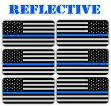 (x6) 3M REFLECTIVE Stealthy Flag Hard Hat Stickers | Black Ops Decals | Tactical Gear Survival Labels | USA Flags Toolbox Helmet Old Glory (US Flag Thin Blue Line Flag)
