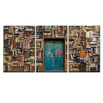 "wall26 - 3 Piece Canvas Wall Art - Antique Building with a Wall of Books - Modern Home Decor Stretched and Framed Ready to Hang - 16""x24""x3 Panels"
