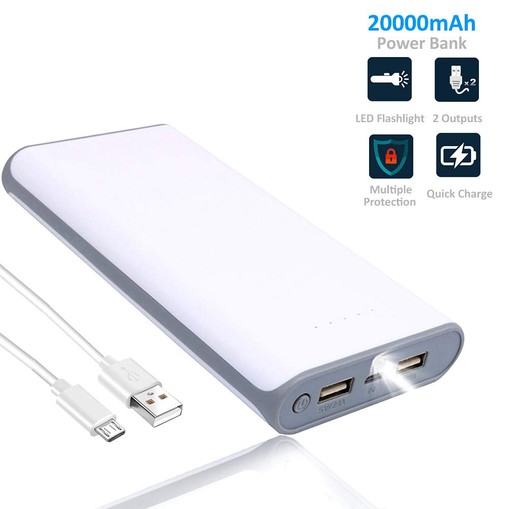 WENYAA Portable Charger Power Bank-20000mAh,Dual USB Port External Cell Phone Battery Pack with LED Light High-Speed Fast Recharging for iPhone, iPad & Samsung Galaxy & More (Gray+White)