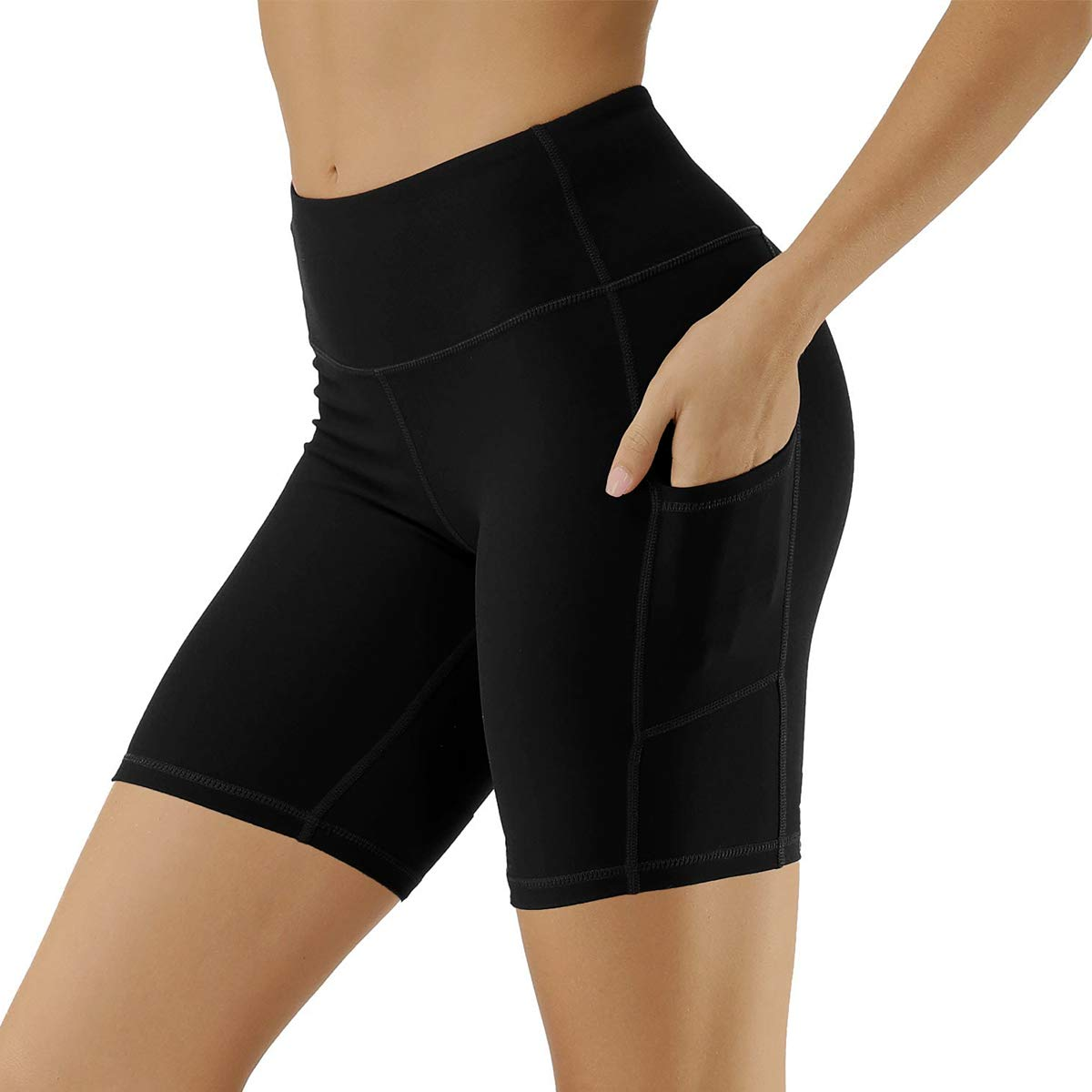 Aoliks Women's High Waisted Yoga Shorts Two Side Pocket - Best Pants for Running,Dance,Bike