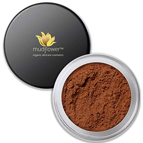 Mudflower Cosmetics Organic Powder Makeup Foundation, Bronze, 1.0 ounce