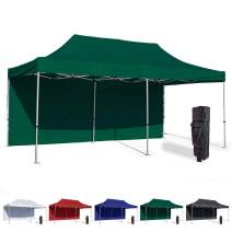 Vispronet 10x20 Instant Canopy Tent and Side Wall – Commercial Grade Steel Frame with Water-Resistant Canopy Top and Sidewall – Bonus Canopy Bag and Stake Kit Included (Green)