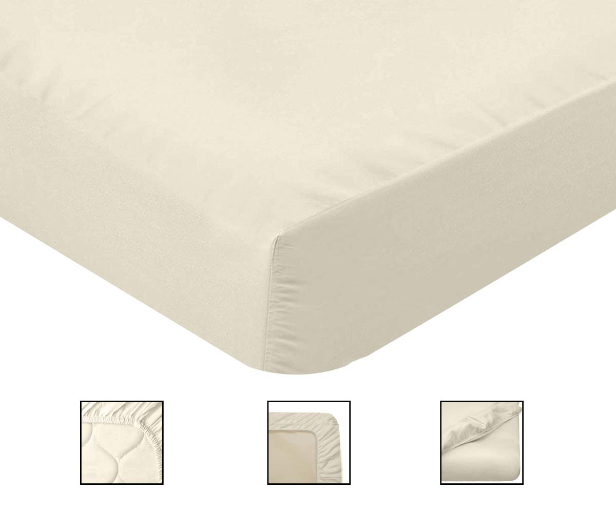 Organic Cotton Crib Bed Sheet - 100% Natural Cotton Percale Fitted Crib Sheet for Standard - GOTS - 100% Cotton Crib Sheet - Organic Crib Sheets - 300 Tc Natural Mattresses, Soft Breathable
